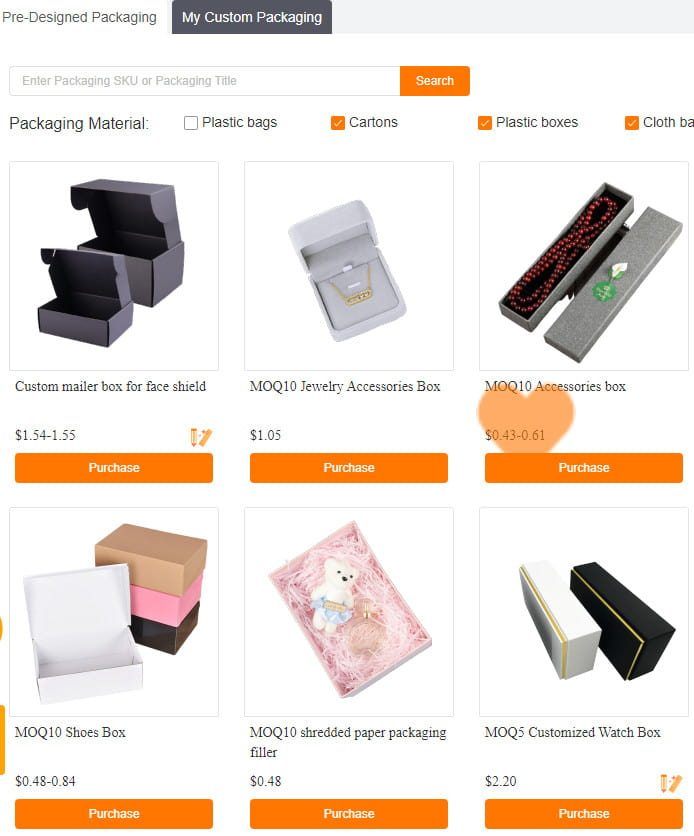 CJdropshipping provides custom packaging options.
