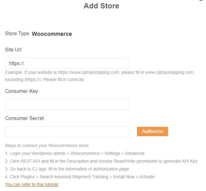 CJdropshipping WooCommerce integration.