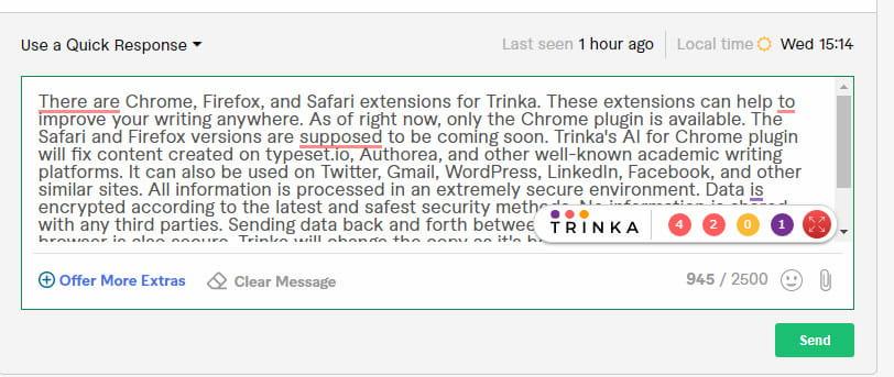 Trinka AI Chrome browser extension.