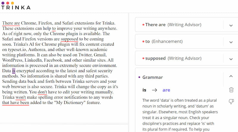 Trinka browser extensions.