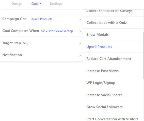 Setting goal in Brave plugin.