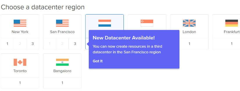 DigitalOcean available datacenters.
