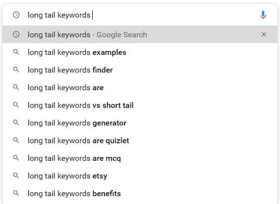 Google autocomplete search.