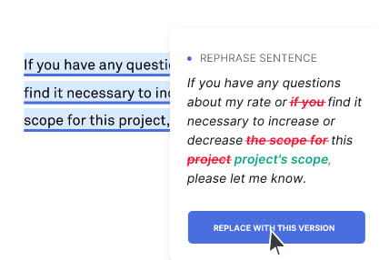 Grammarly rephrase sentence feature.