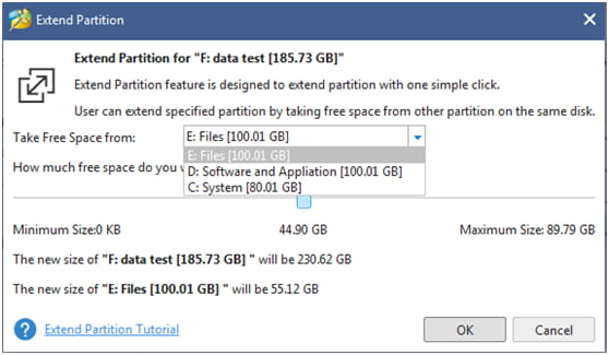 MiniTool extend partition steps.
