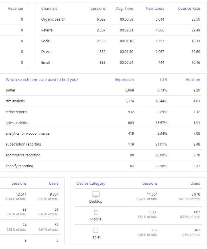 Connect Putler with Google Analytics.