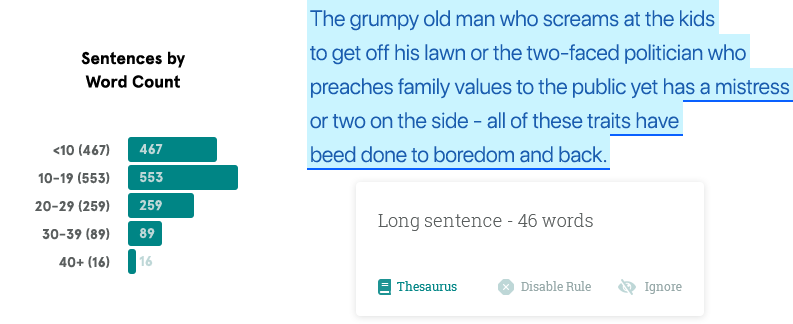 Sentence Length Report.