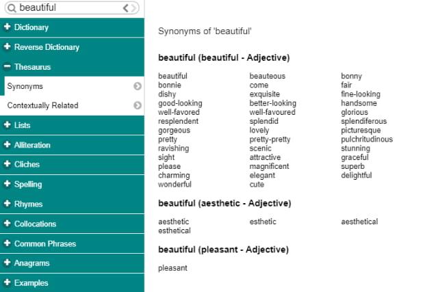 ProWritingAid word explorer.