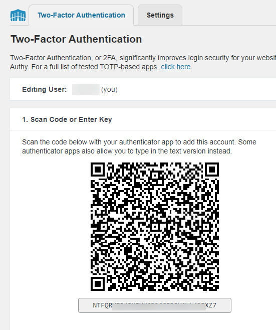 Wordfence Two-Factor Authentication.