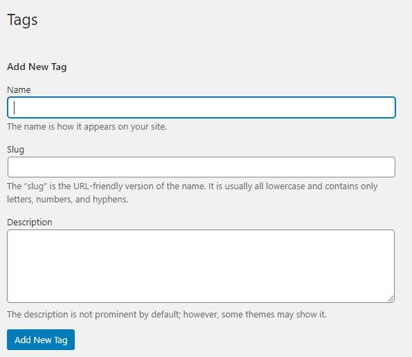 How to add WordPress tags?