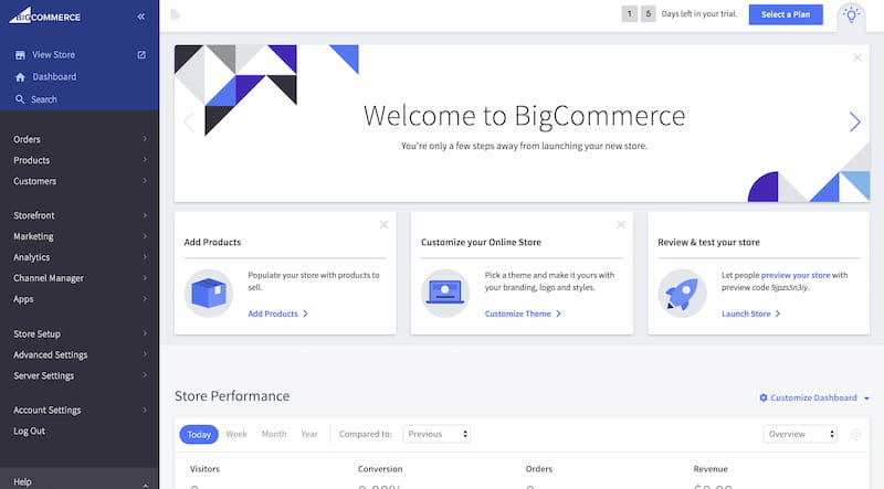BigCommerce store dashboard.