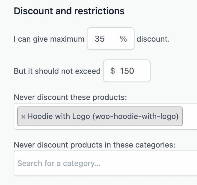 Offermative discount minimum maximum exclusion rules.