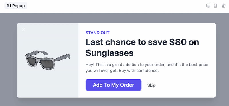 Offermative upsell popup feature.