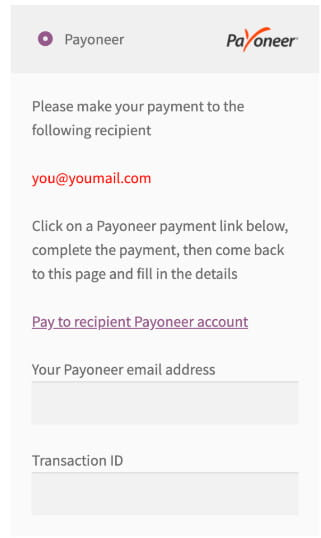 Payoneer offsite gateway for WooCommerce.