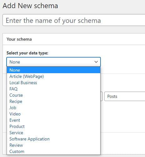 SEOPress schema options.