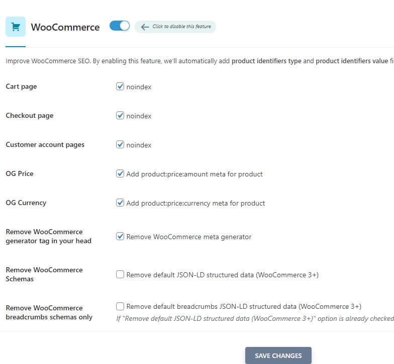 SEOPress WooCommerce integration.