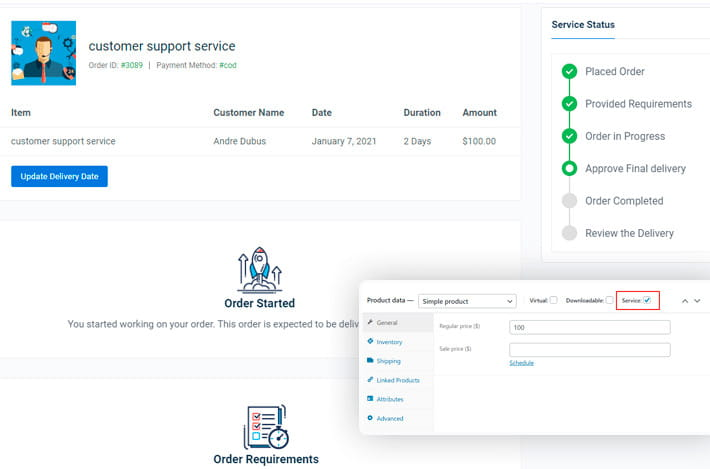 Woo Sell Services order management.