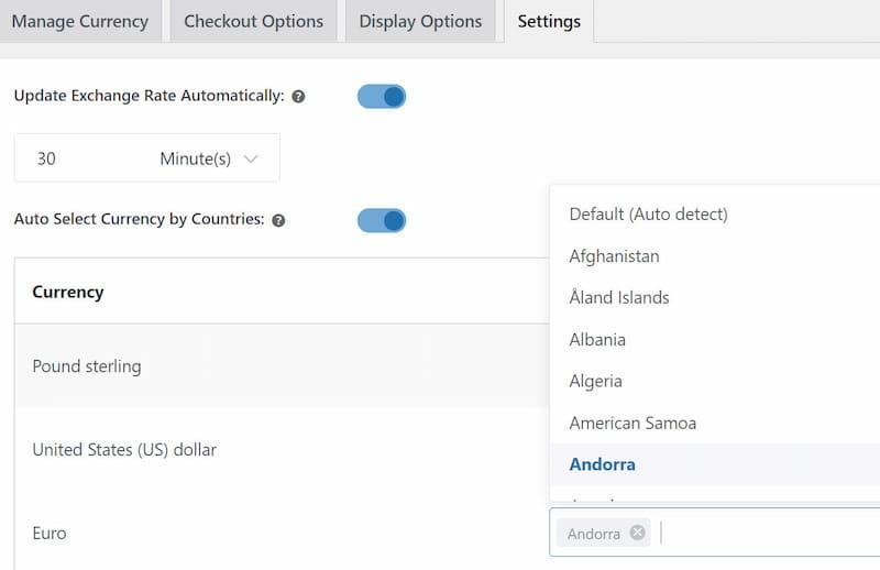YayCurrency setting options.