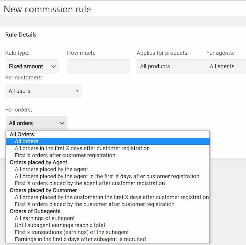 Create new rule via SalesKing commission rules.