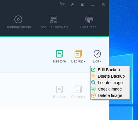 DBackup image options.