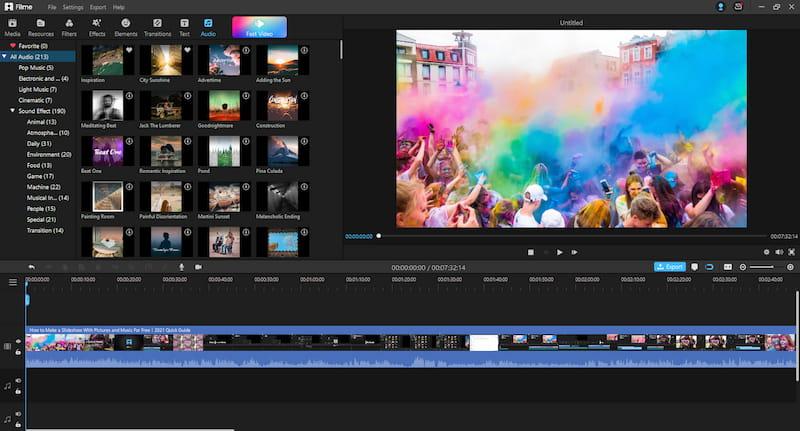 Filme video editor options.