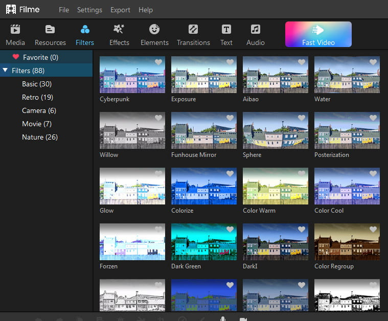 Filme video editing tool filters.