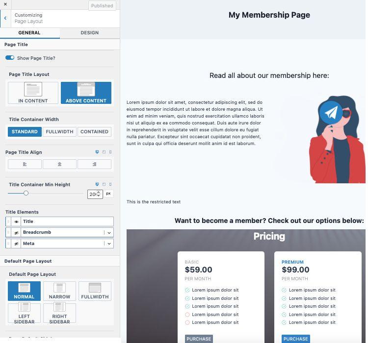 Create membership site with Kadence theme.