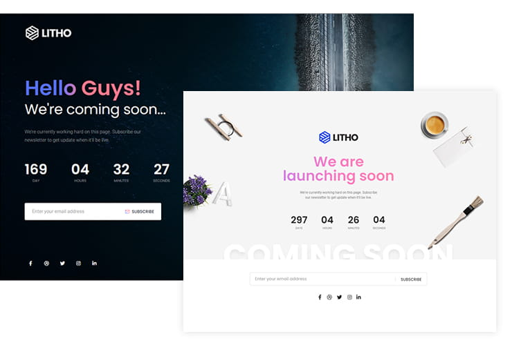 Litho theme coming soon and maintenance pages.