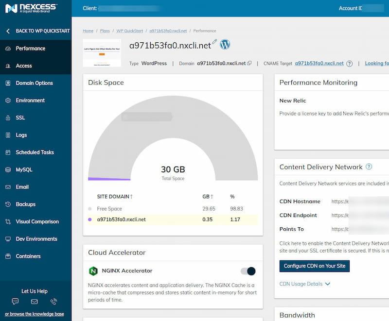 Nexcess client portal.