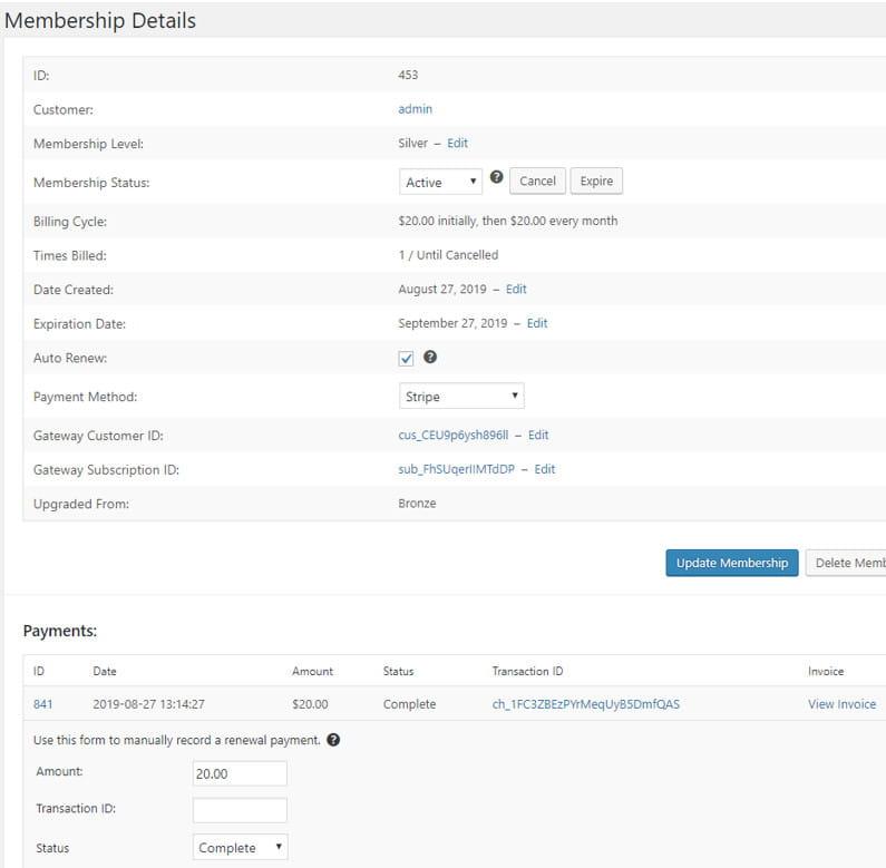 Restrict Content user membership level details.