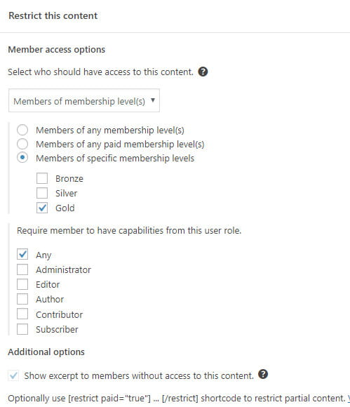 How to restrict content with Restrict Content plugin?
