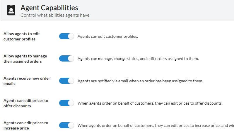 SalesKing agent capabilities settings.