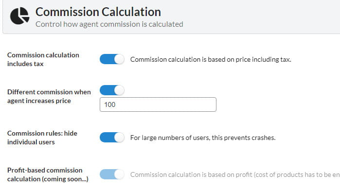 SalesKing commission calculation settings.