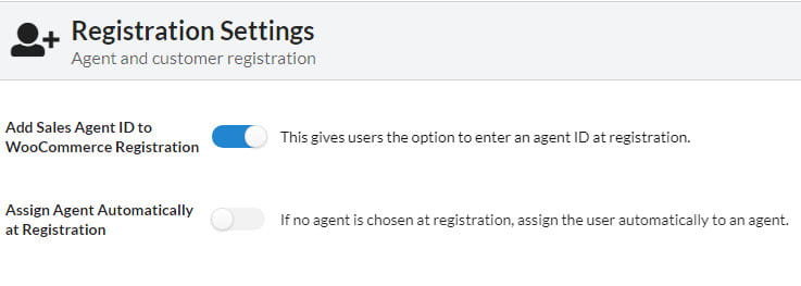 SalesKing registration settings.
