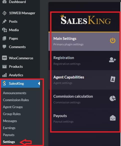 SalesKing settings.