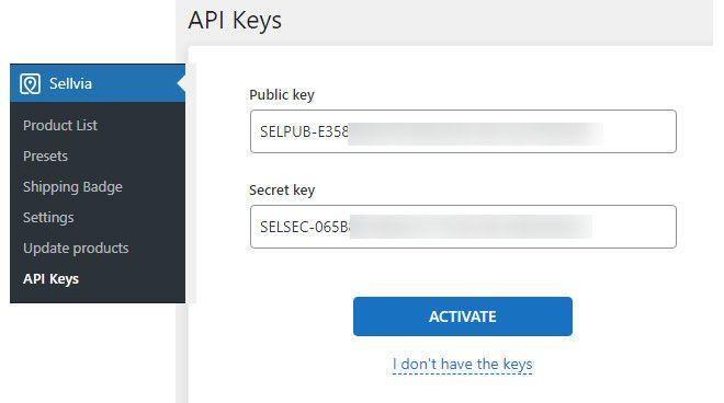 Sellvia secret and public key.