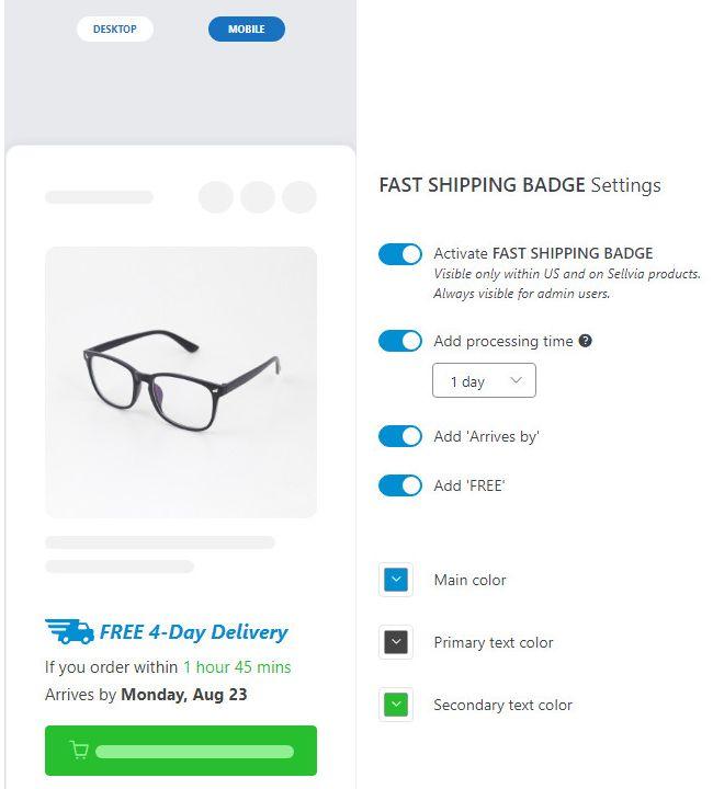 Sellvia fast shipping badge settings.