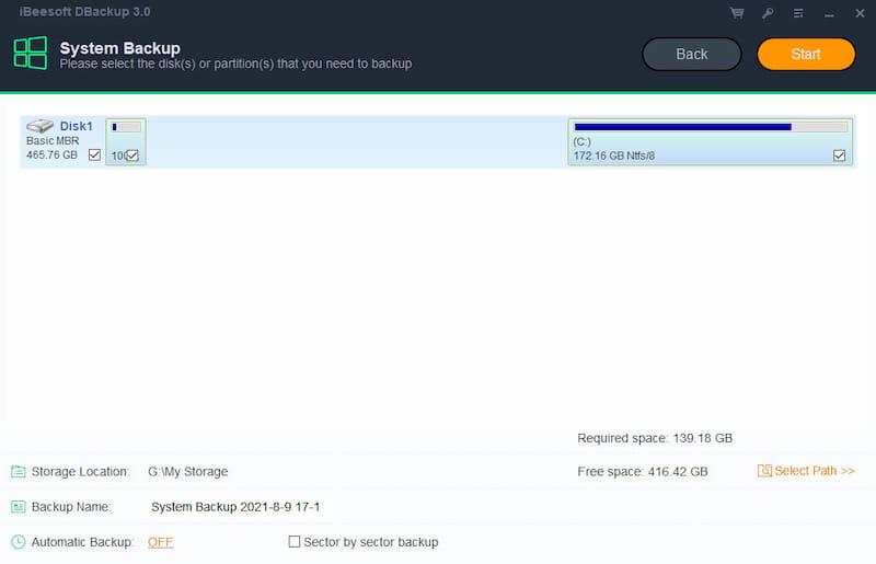 DBackup system backup.
