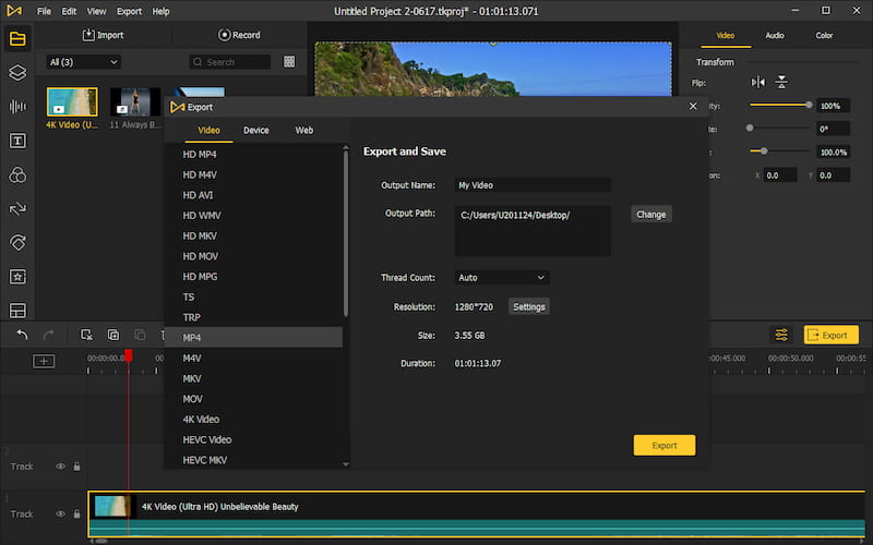 AceMovi video export options.