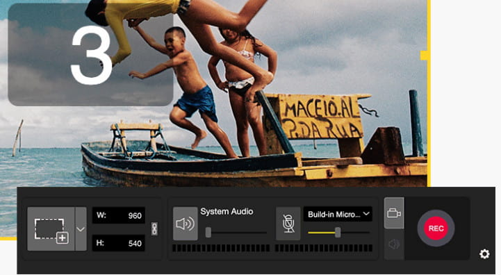 AceMovi screen recording options.