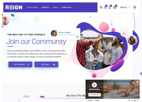 Create community sites with Reign theme.