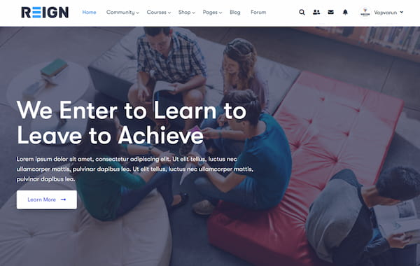 Reign theme elearning features.