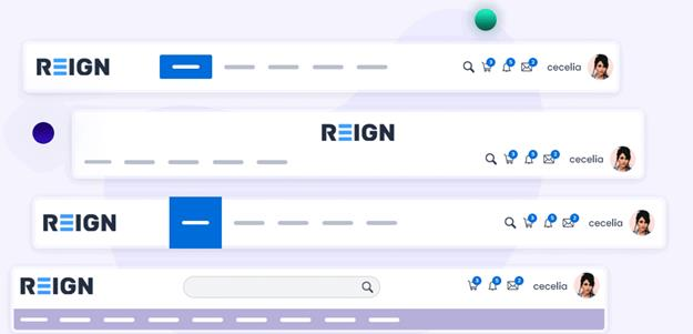 Reign theme header variations.
