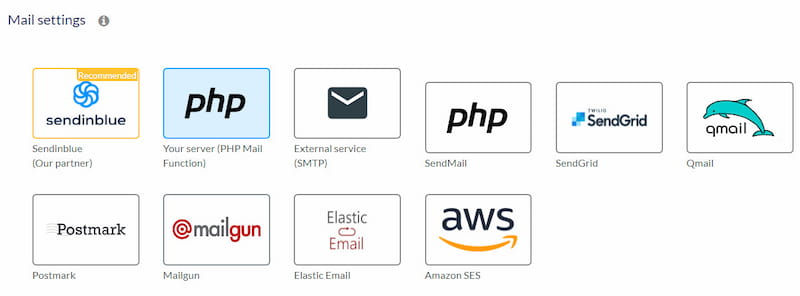 AcyMailing external mail sending service options.