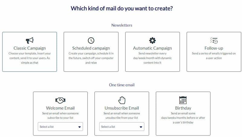 AcyMailing newsletter type options.