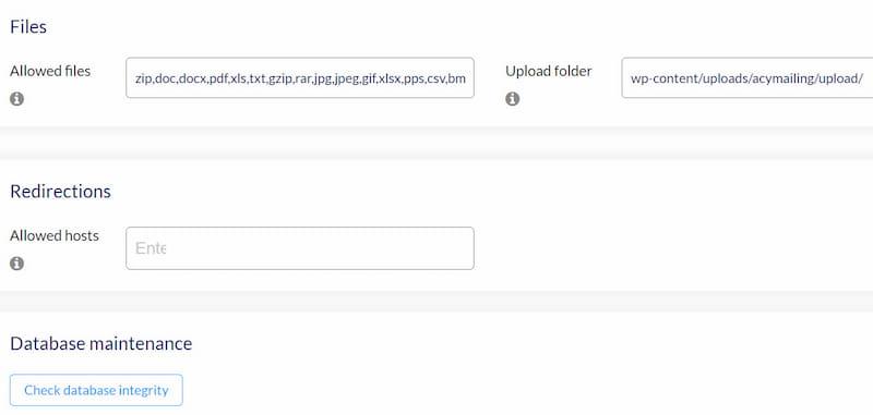 AcyMailing permission options.