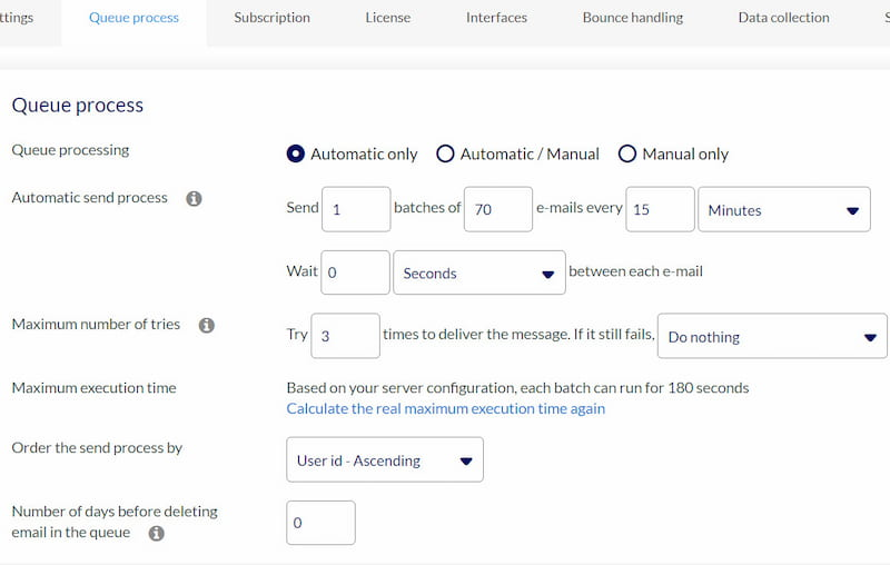 AcyMailing queue process settings.