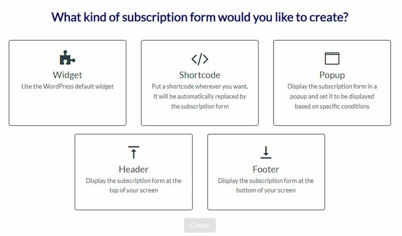AcyMailing creating subscription form.