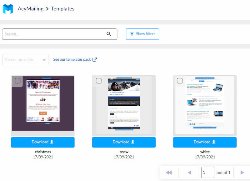 AcyMailing ready-made templates.