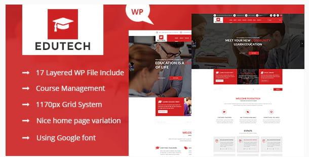 Edutech education WordPress theme.